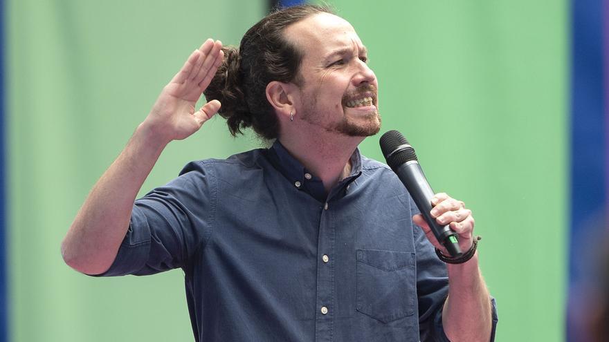 El candidato de Unidas Podemos a la Presidencia de la Comunidad, Pablo Iglesias, interviene en un acto
