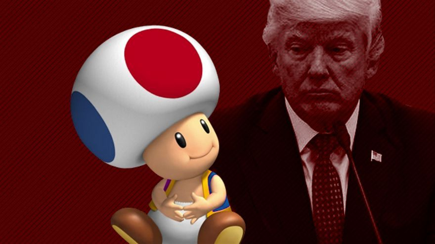Montaje con Donald Trump y Toad, el personaje del juego Mario Kart al que se refiere Stormy Daniels