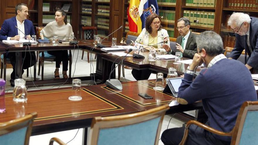 Comisión del Parlamento de Canarias que estudia la reforma del sistema electoral en las islas, presidida por el diputado Antonio Castro (3d)