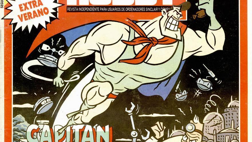 El Capitán Sevilla (originalmente Capitán Morcilla) en la portada de la revista Micro Hobby