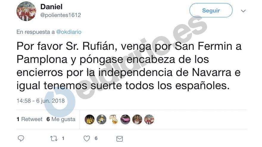 Tuit de Daniel Rodríguez sobre Gabriel Rufián.