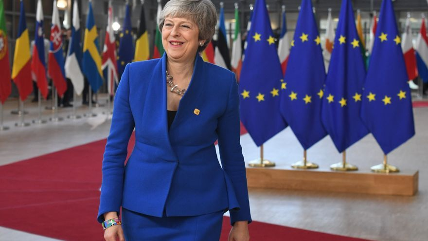 La primera ministre británica Theresa May a su llegada a la cumbre de líderes europeos sobre el Brexit.