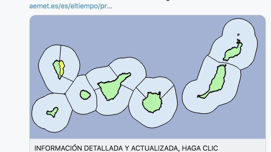 Mapa de la Aemet del aviso de riesgo por lluvias en La Palma