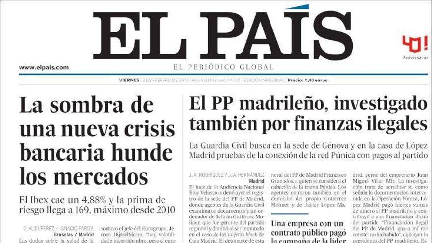 Portada El País 12 de febrero 2016