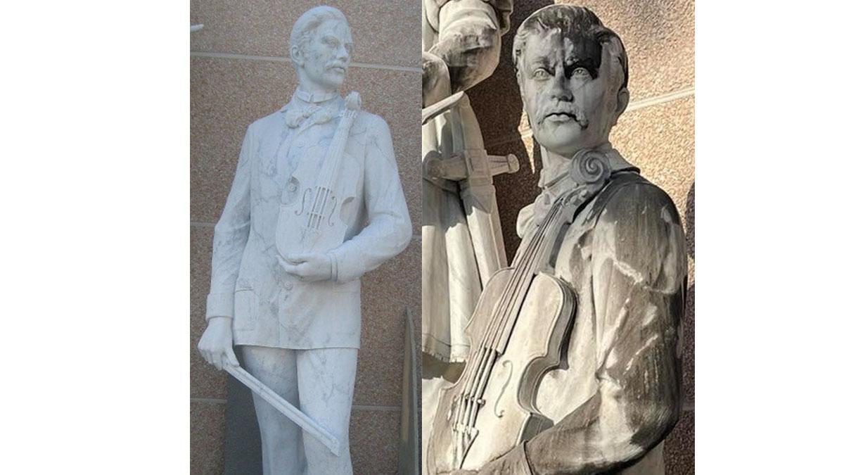 Estatua de Eduardo Lucena del escultor Marco Augusto Dueñas.