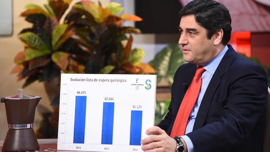 El consejero de Sanidad José Ignacio Echániz muestra las listas de espera