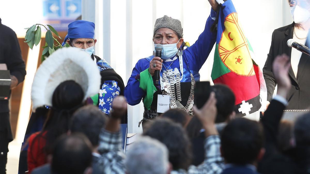Elisa Loncón, constituyente mapuche, presidenta de la Convención Constitucional.