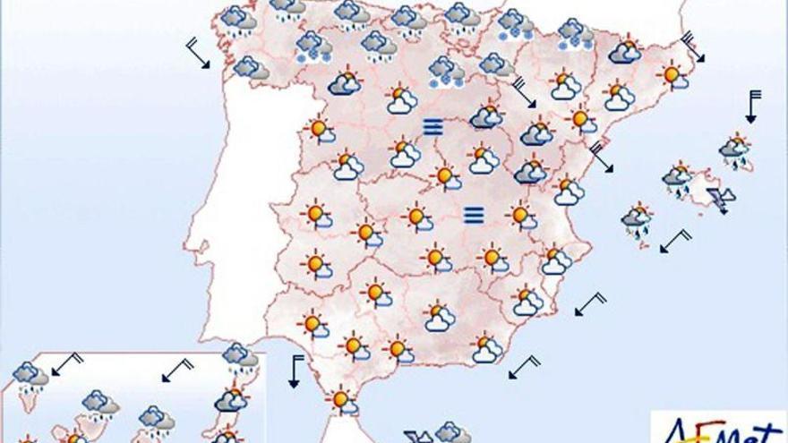 Lluvias y vientos fuertes en el norte, Melilla y Canarias