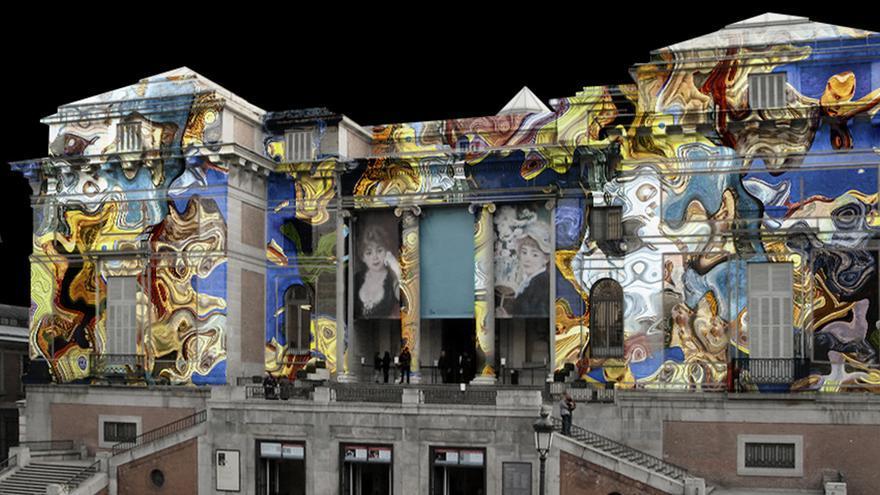 Imagen de archivo de una proyección de video mapping.