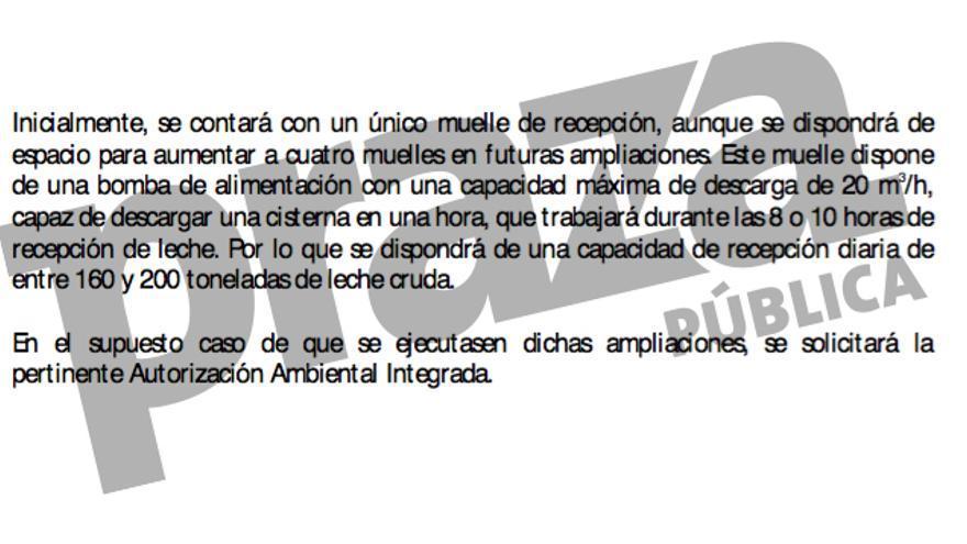Descripción que hace la empresa de su capacidad para procesar leche, cinco veces inferior a la prometida por la Xunta