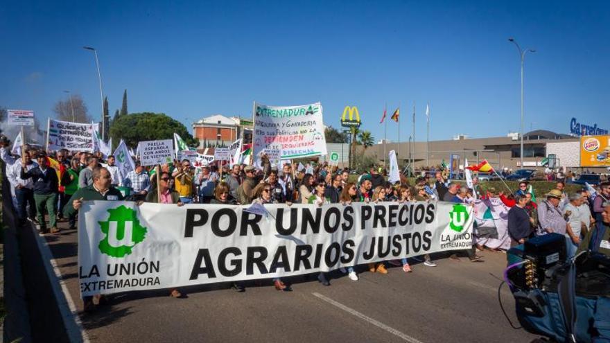 Centenares de agricultores marchan por Mérida para reclamar precios justos