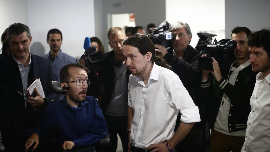 Pablo Iglesias y Pablo Echenique participan este viernes en un acto en Pamplona