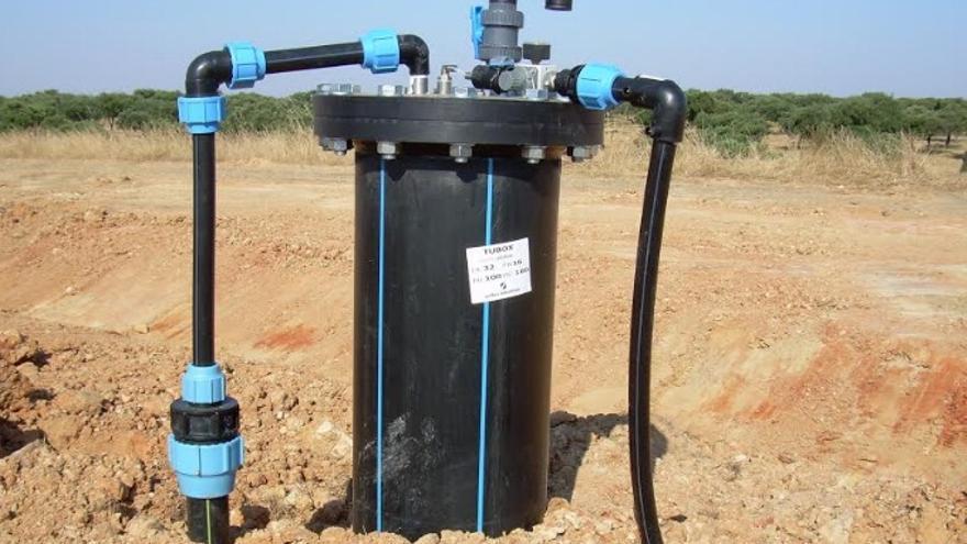 Imagen de uno de los pozos de captación de biogás en el ecoparque de Badajoz