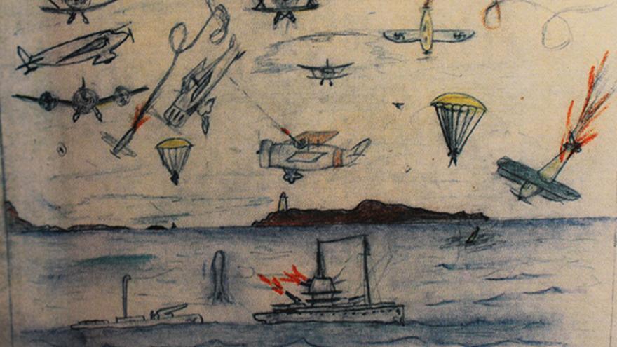 Dibujo de un niño que recoge bombardeos durante la Guerra Civil española.