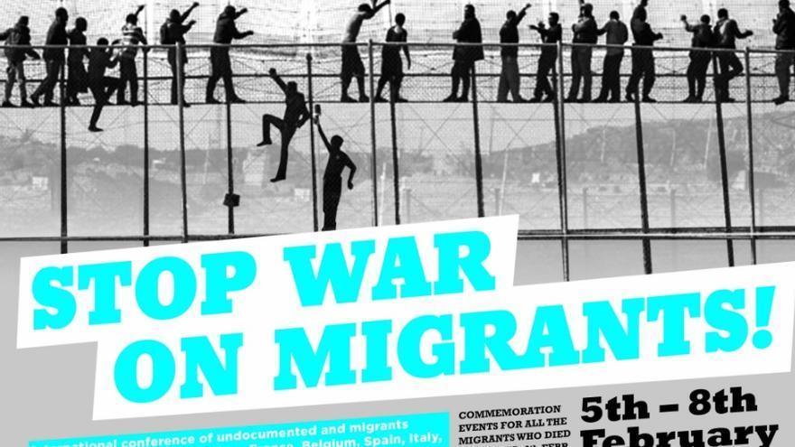 Cartel de los actos de la Coalición Internacional des Migrantes Sin Papeles y Refugiados en recuerdo de las muertes del Tarajal.