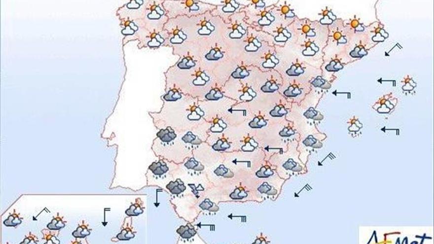 Lluvia fuerte en Andalucía y Levante y viento fuerte en el sureste