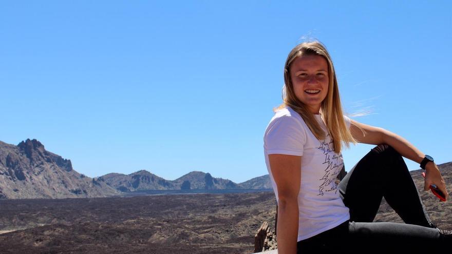 La delantera serbia en una imagen tomada en las Cañadas del Teide, en una recinte visita a Tenerife