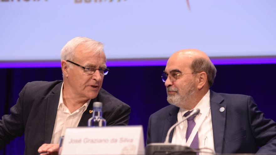 Joan Ribó y el director general de la FAO, José Graziano da Silva, durante el encuentro de Valencia.