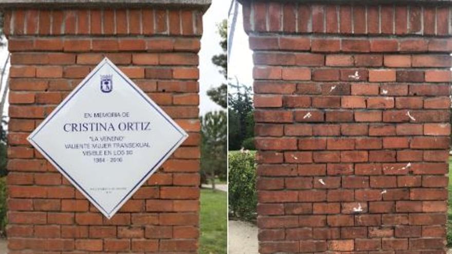 La placa en homenaje a 'La Veneno' es arrancada una semana después de su colocación.