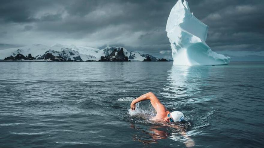 Un activista nada entre témpanos de la Antártida para pedir la protección oceánica