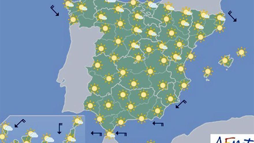 Hoy, aumento de temperaturas en el interior de península y Canarias