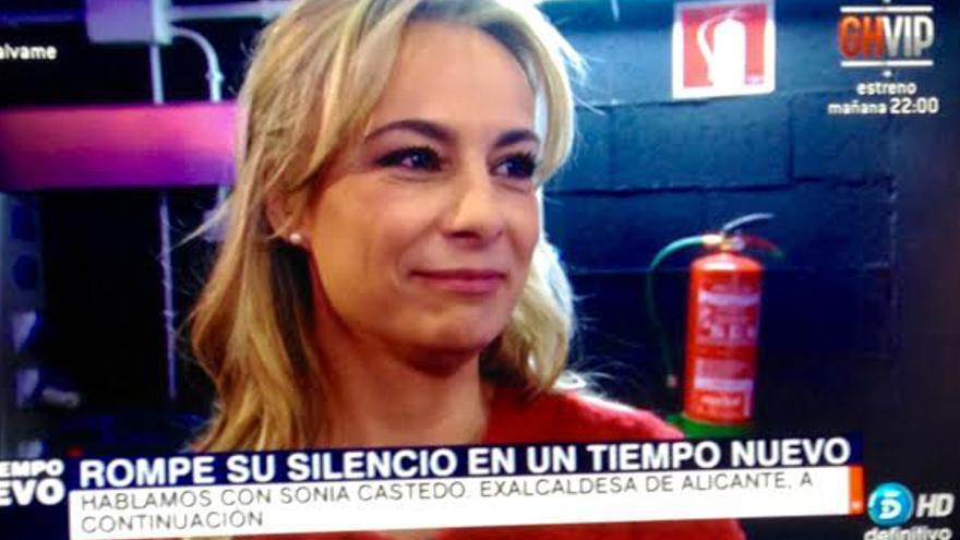 La exalcaldesa de Alicante, Sonia Castedo, durante su aparición televisiva
