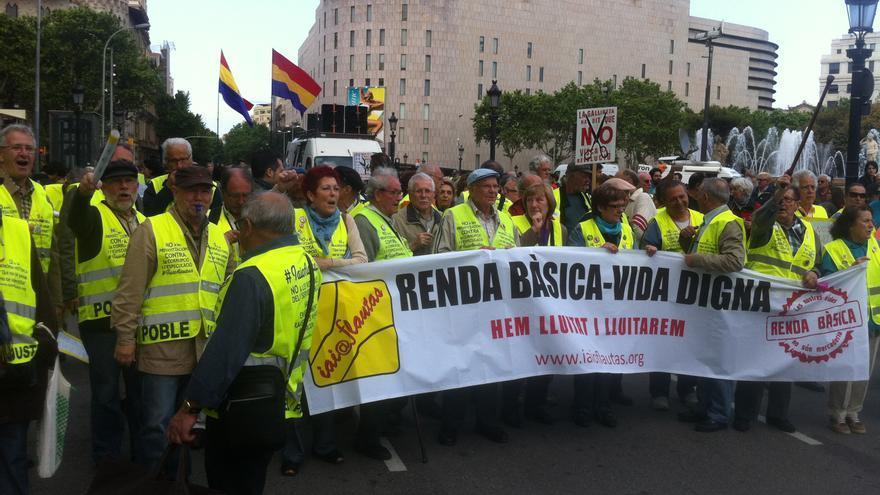 El bloc dels Iaioflautas tancava la manifestació / João França