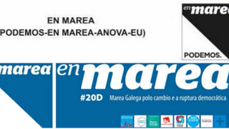 Imagen gráfica de 'En Marea' en las papeletas (arriba) y el resto de la campaña