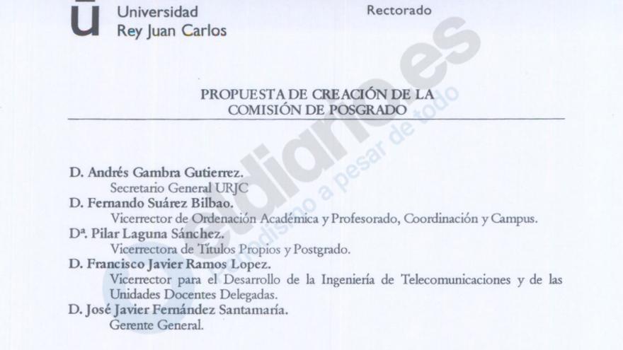 La composición de la comisión de Posgrado en la que participó el actual rector
