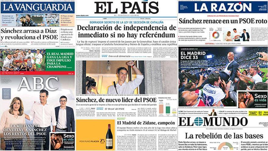 Las reacciones de los diarios españoles a la victoria de Sánchez