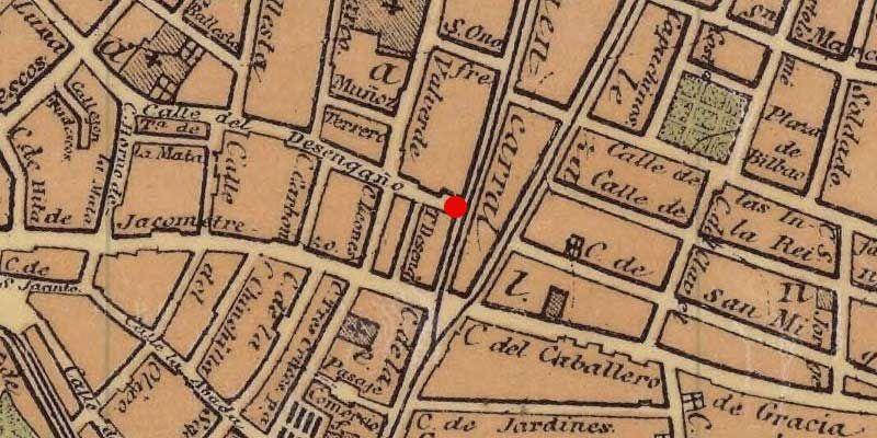 Ubicación de la botica, en el 11 de la calle Fuencarral, esquina Desengaño