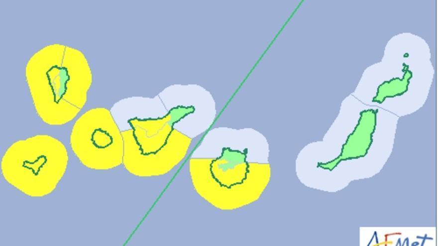 Mapa de la Aemet del aviso del riesgo por viento y fenómenos costeros para este martes y miércoles.