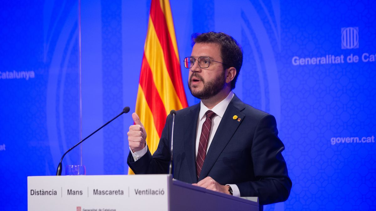 El vicepresidente de la Generalitat en funciones, Pere Aragonès, en rueda de prensa.