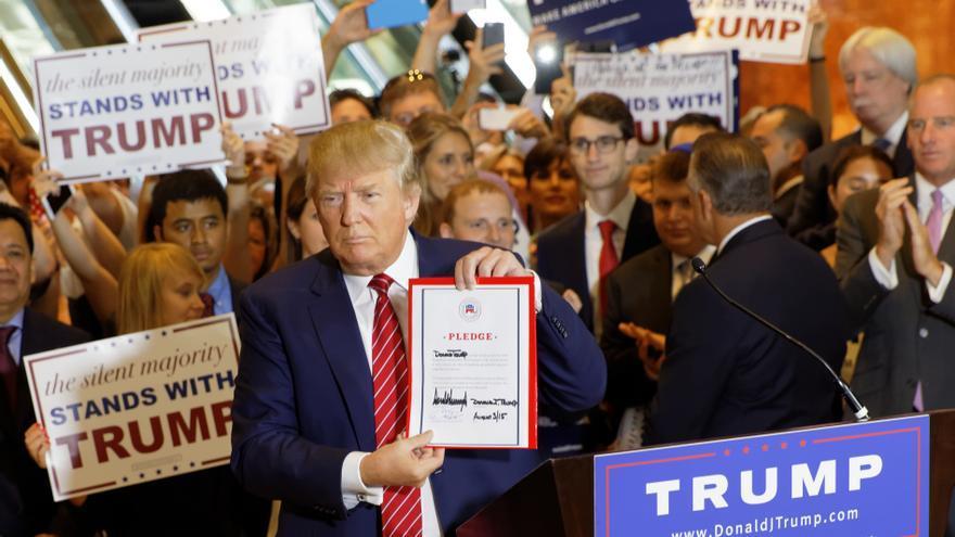 Donald Trump durante un evento de campaña en Nueva York