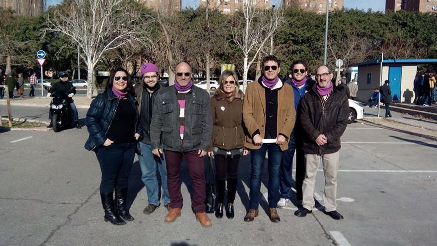 Mario Cánovas, el tercero por la derecha, con parte de la andidatura de CVA Ahora Podemos.