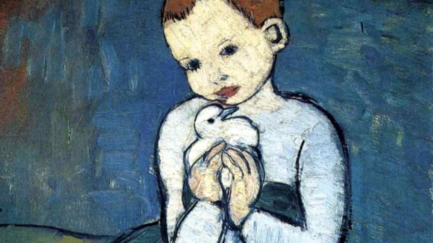 Un detalle de 'Niño con paloma' de Picasso.