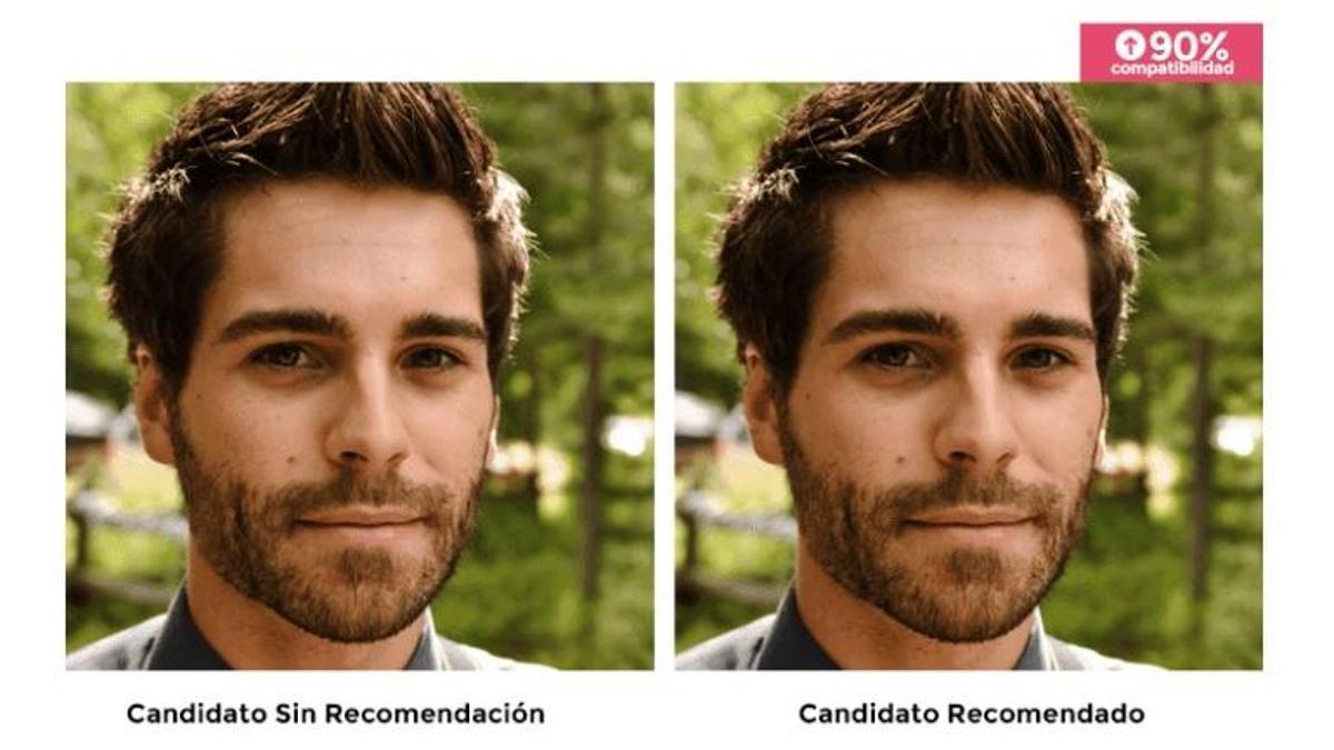 Una de las imágenes utilizadas en el estudio. Los participantes tendían a elegir a las personas recomendadas por el algoritmo.