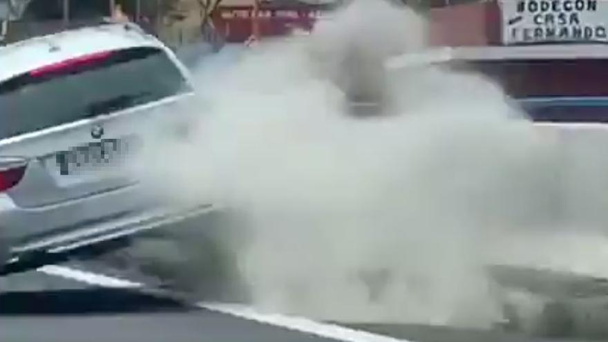 Identificado el conductor que fue grabado circulando de forma temeraria por la TF-5 y que llegó a impactar contra un muro