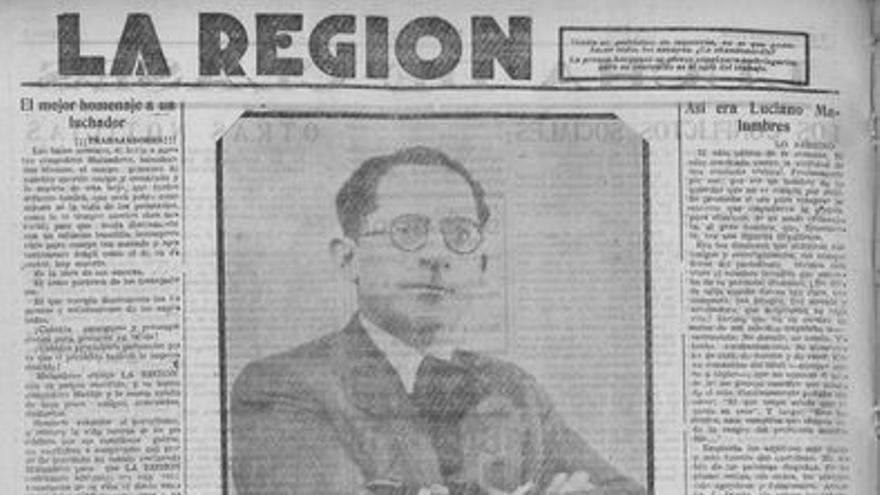 Una de las páginas de La Región del 5 de junio de 1936, que relata el asesinato de Malumbres.