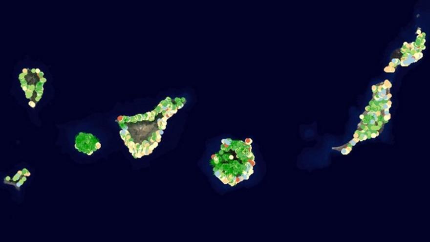 Mapa de palmeras de Canarias