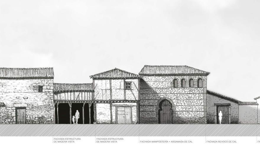 Boceto del poblado medieval de Puy du Fou Toledo