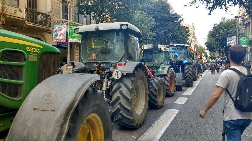 Los tractores en las calles de Barcelona este viernes