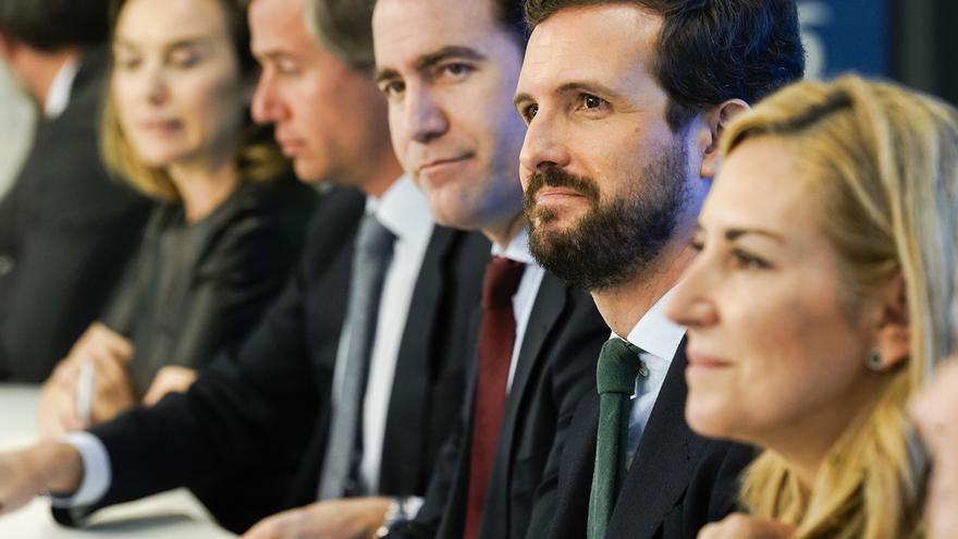 Pablo Casado, este lunes, durante la reunión de la Junta Directiva Nacional del PP.
