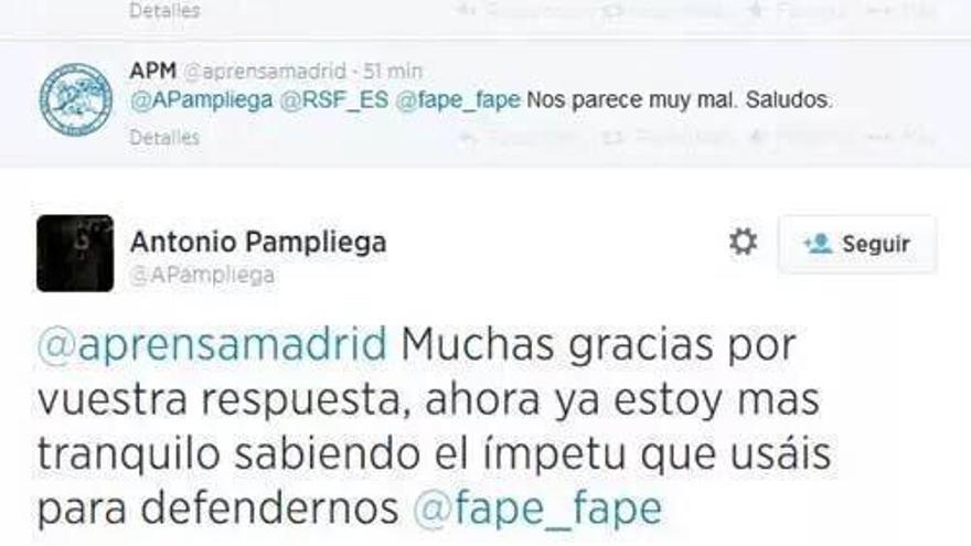 El tuiter en el que el periodista Antonio Pampliega denuncia la tarifa para