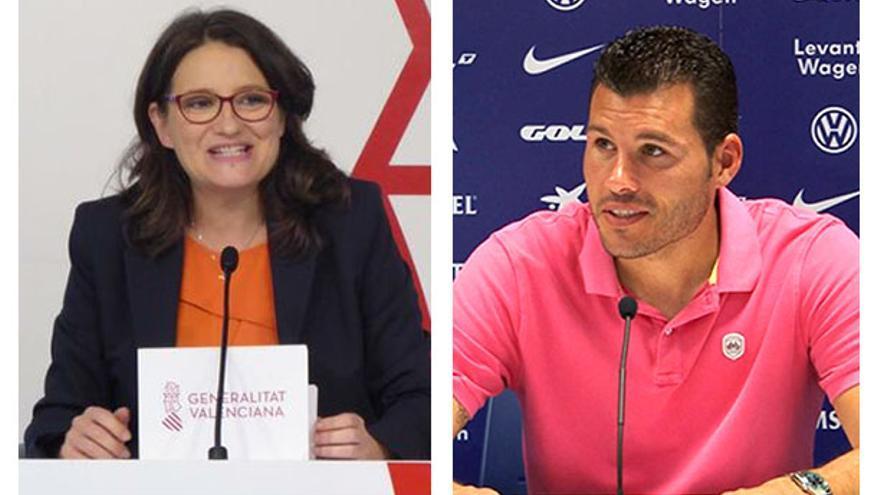 La vicepresidenta valenciana, Mónica Oltra, y el exfutbolista David Navarro.