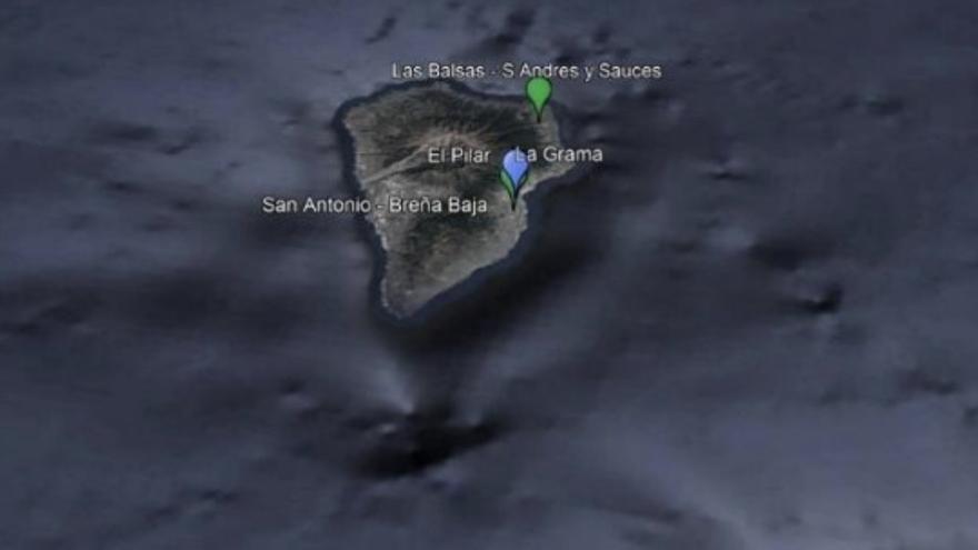 Mapa de situación de las estaciones de la red de vigilancia de la calidad del aire  en La Palma.