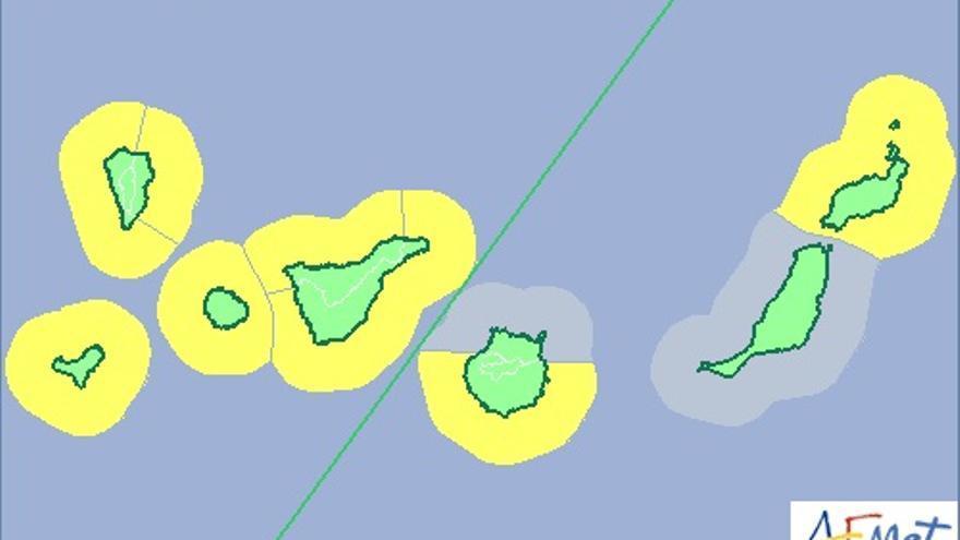 Mapa de la Aemet de aviso de riesgo amarillo por fenómeno costero para el martes, 24 de febrero.