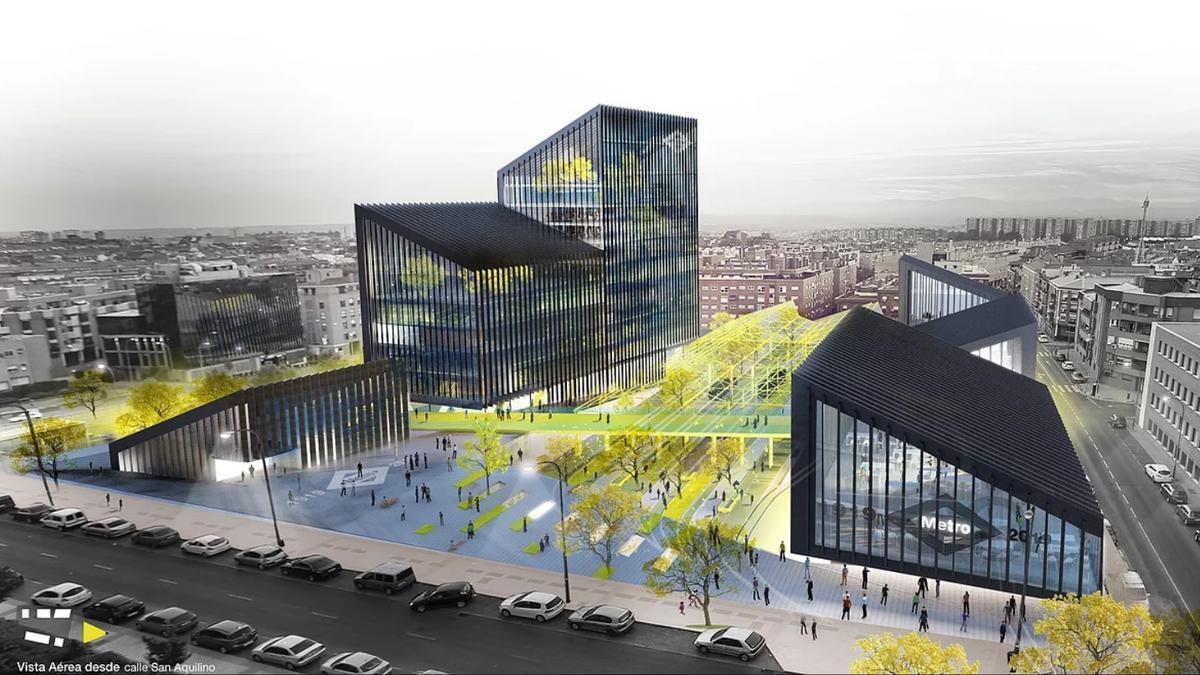 El futuro Centro Integral de Transportes, visto desde la calle San Aquilino