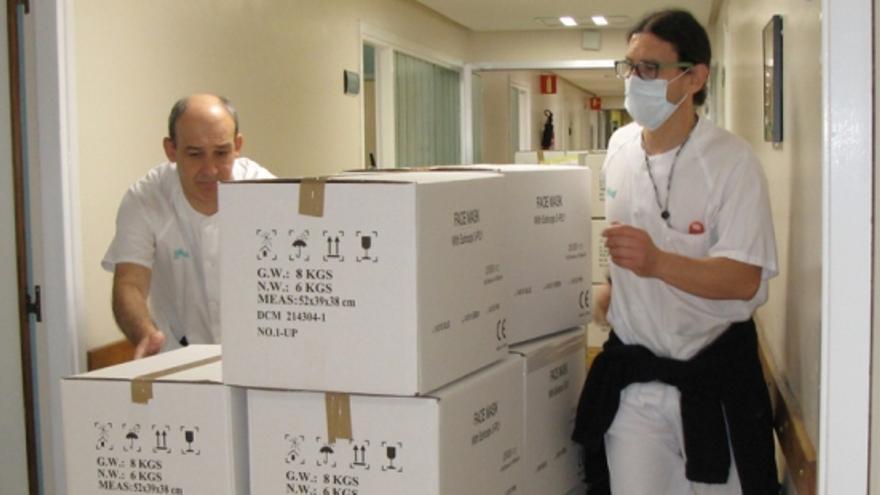 El viernes se entregaron 120.000 mascarillas al Hospital Miguel Servet de Zaragoza.