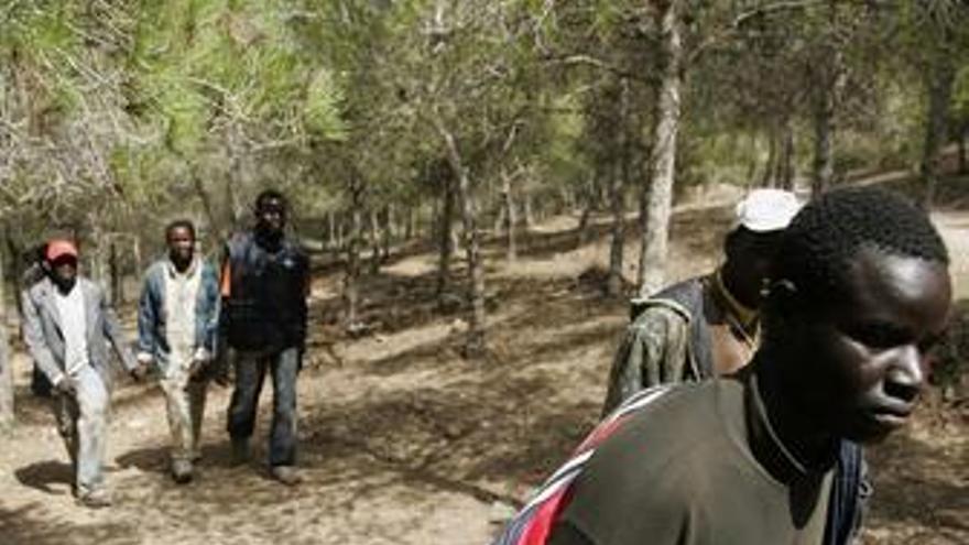 Inmigrantes en la frontera con Melilla